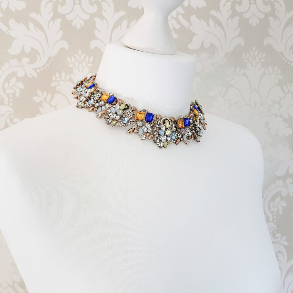 gold and colourful statement necklace