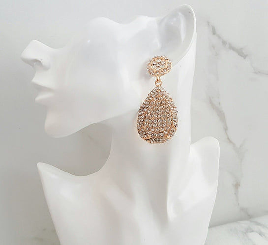 gold rhinestone earrings