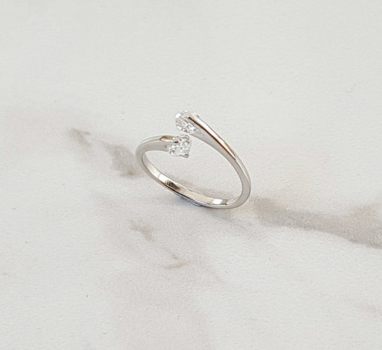 double stone silver ring