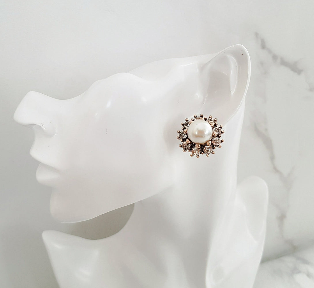 big gold and pearl rhinestone earrings by Jewels by House of Aria
