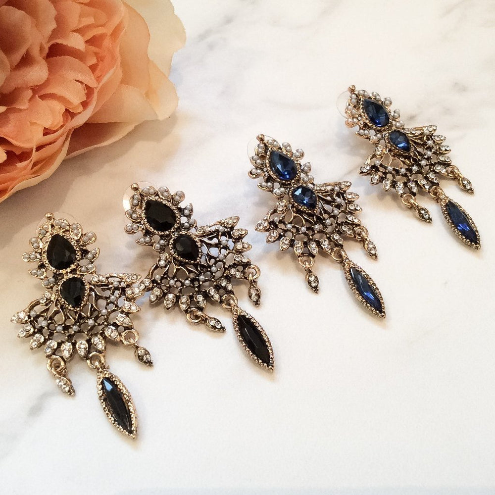Statement rhinestone earrings for weddings and special occasions