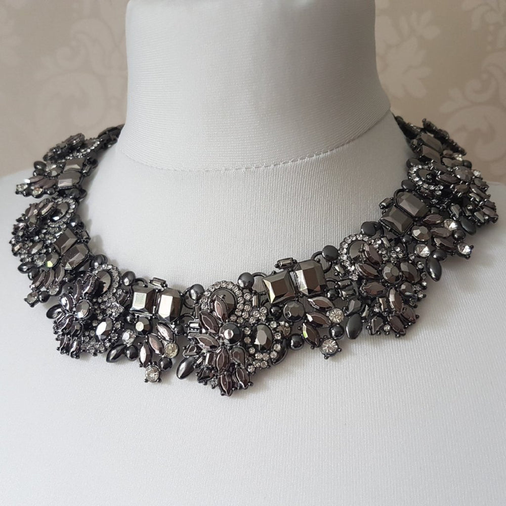 womens black statement chunky necklace