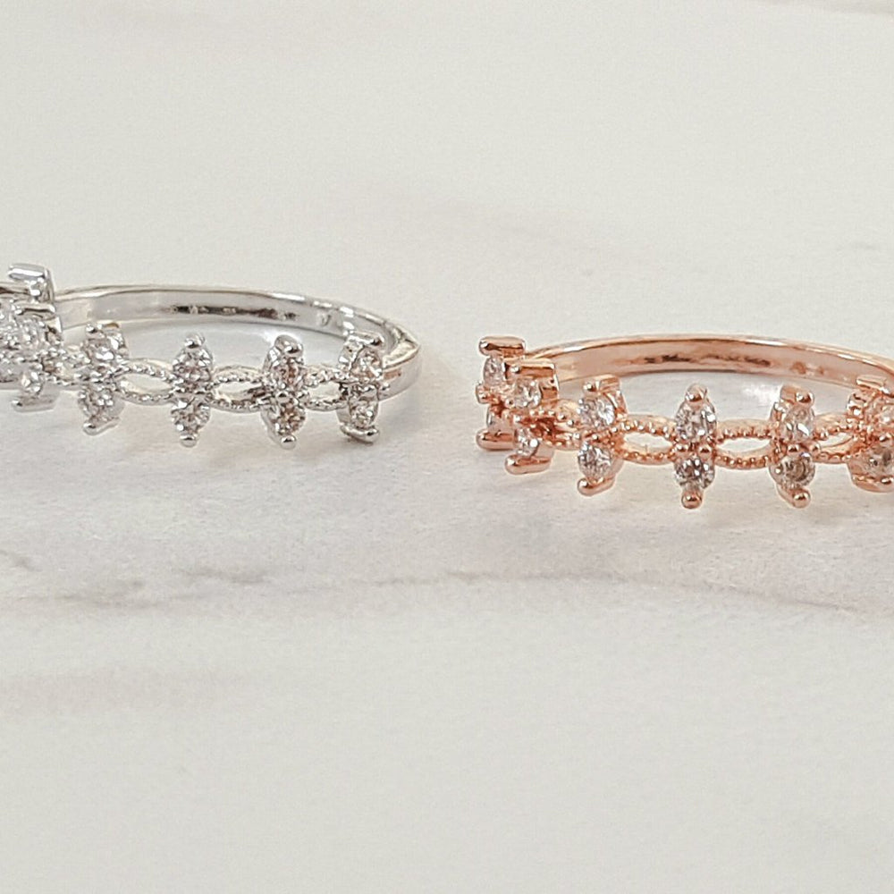 silver and rose gold womens rings