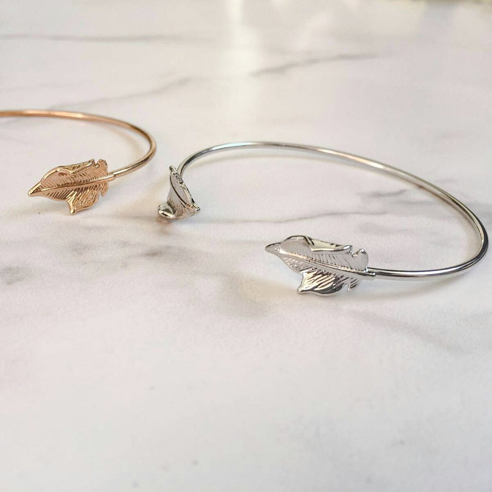 silver leaf bangle and cuff