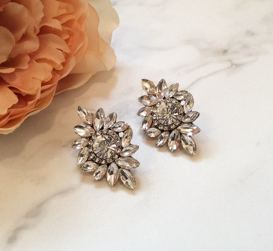 womens big rhinestone stud earrings