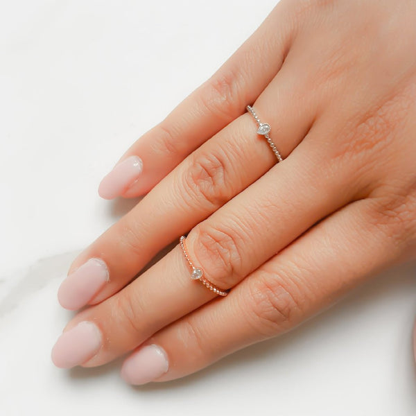 MONA Teardrop Crystal Ring (Rose Gold & Platinum)