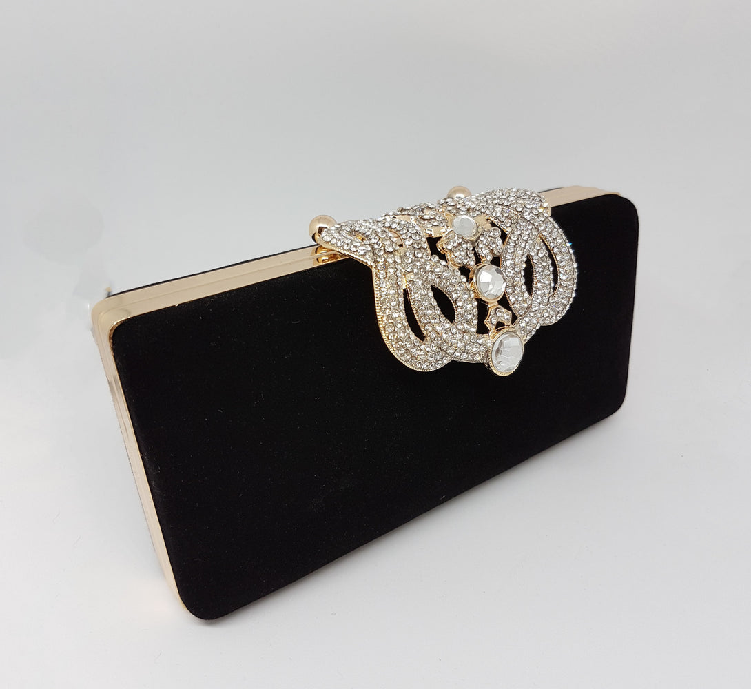 black velvet women's evening clutch bag