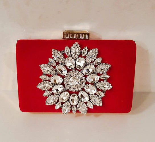 red velvet women's clutch bag