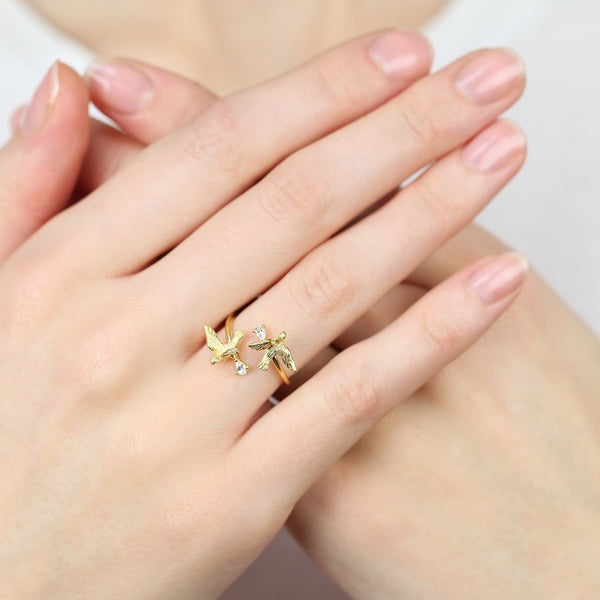 Double Swallow Gold Ring