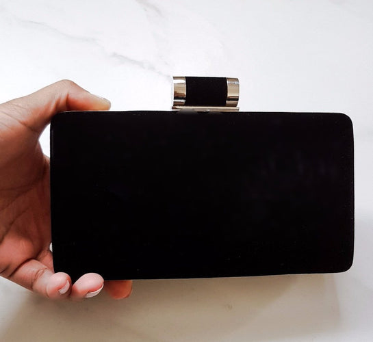 womens black suede & velvet clutch bag for evening wear