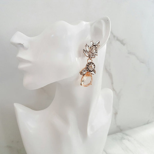 Rhinestone Drop Amber Earrings - Not Perfect But Still Beautiful