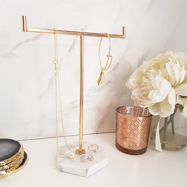Marble & Gold Jewellery Tree Stand