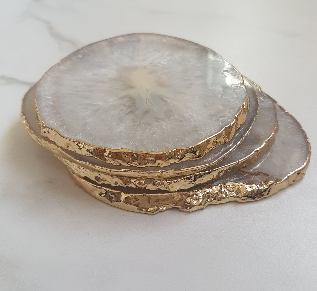 natural white agate crystal coasters with gold glided edge, perfect house warming gift