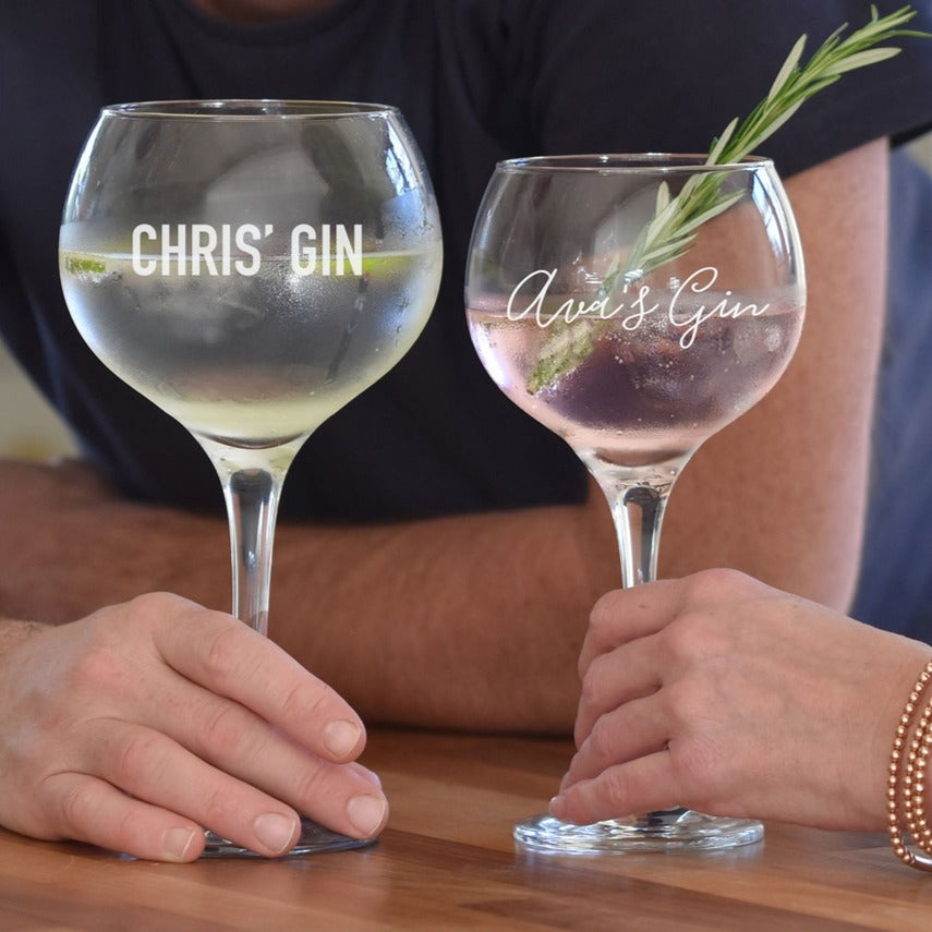 his and her gin glasses