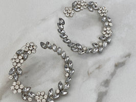 AVA Silver Embellished Statement Earrings