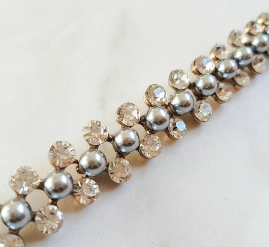 Pearl and rhinestone choker necklace