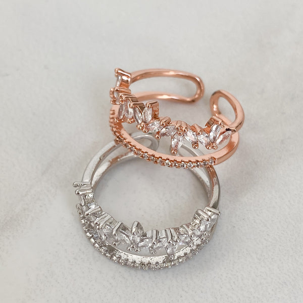 AMARA Stacked Adjustable Ring (Rose Gold & Silver)