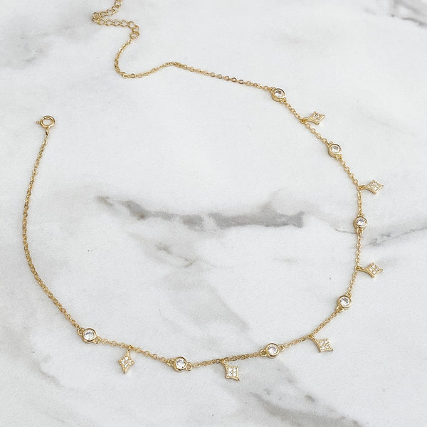 AMAYA Dainty Sterling Silver Crystal Choker (3 colours)