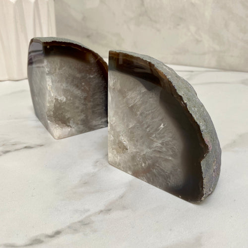 Agate Crystal Bookends with gold edge - Black & White