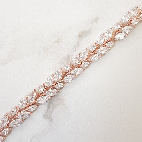 rose gold zircon crystal choker necklace