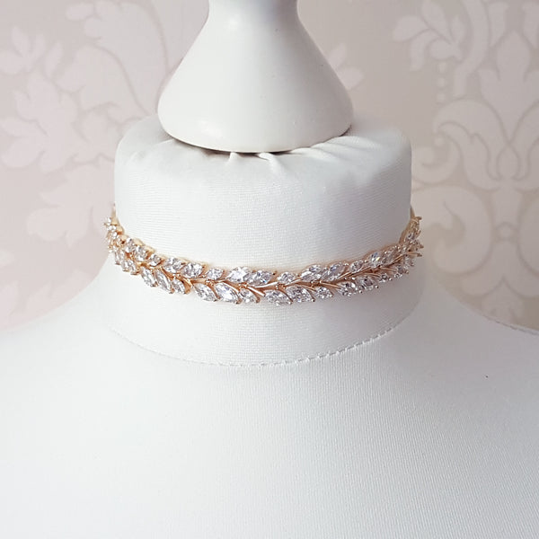 AMELIA Crystal Choker Necklace (Rose Gold, 18k White Gold & Gold Plated)