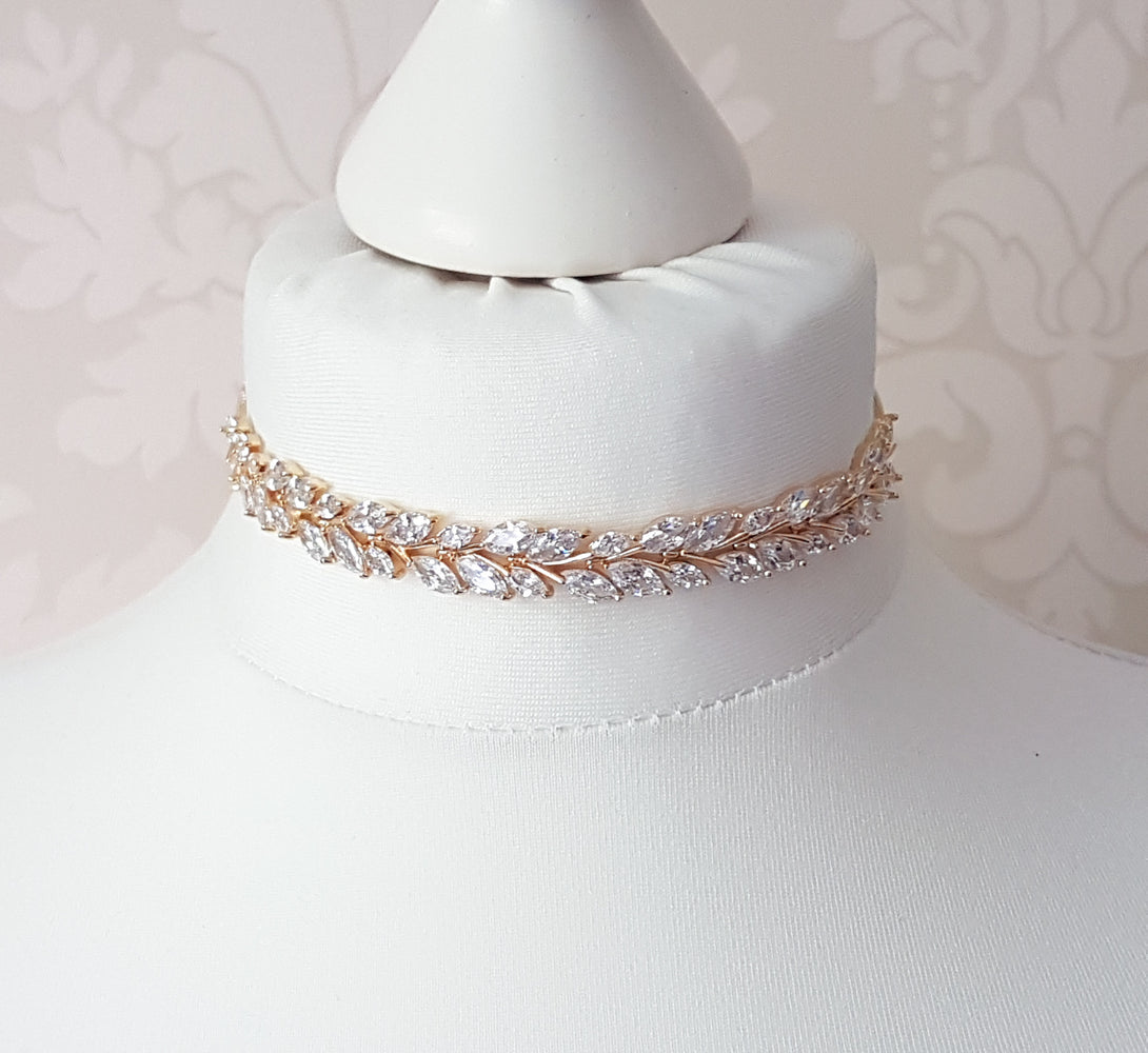 gold crystal petal choker necklace