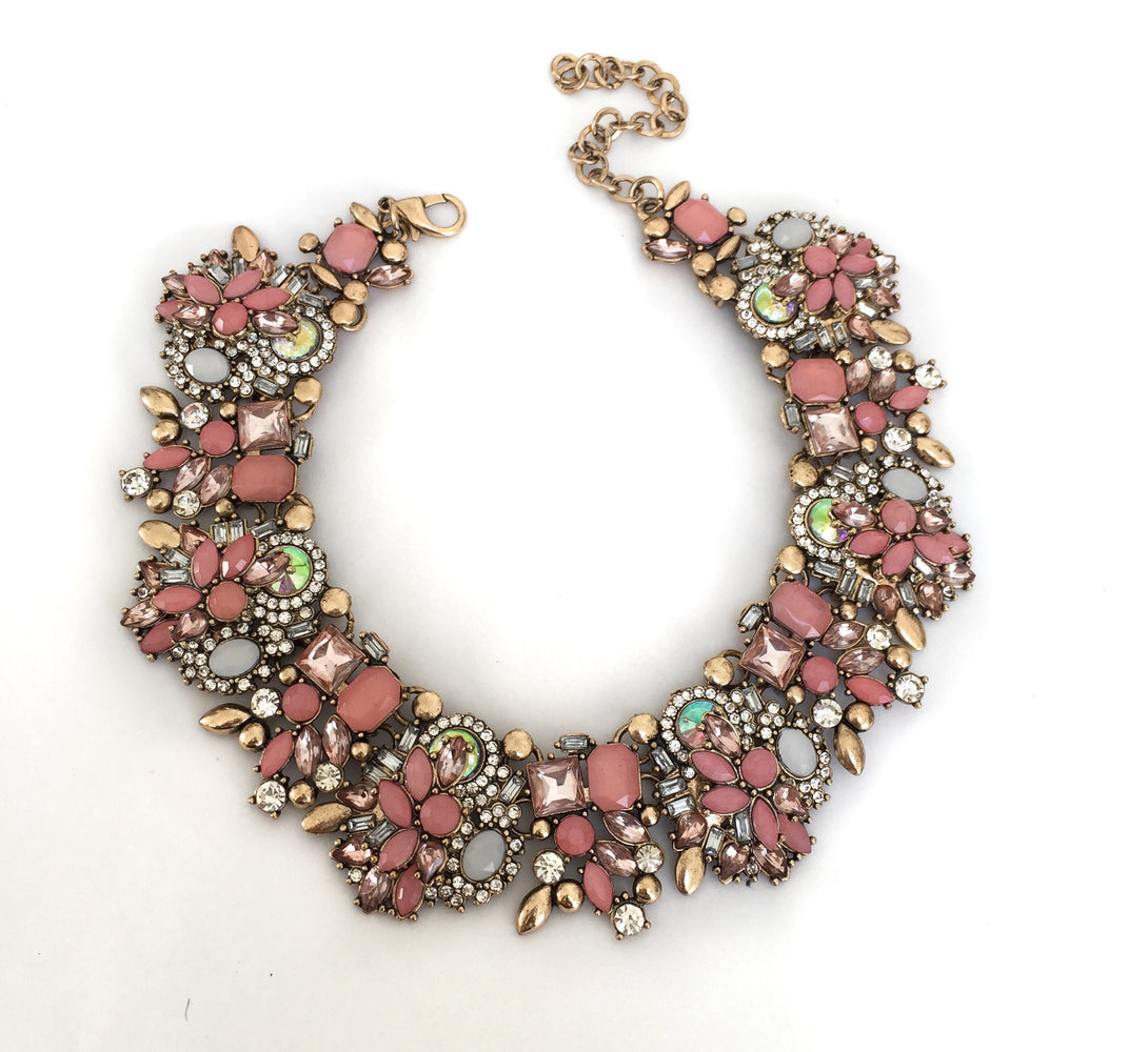 Womens's Pink and Gold choker necklace