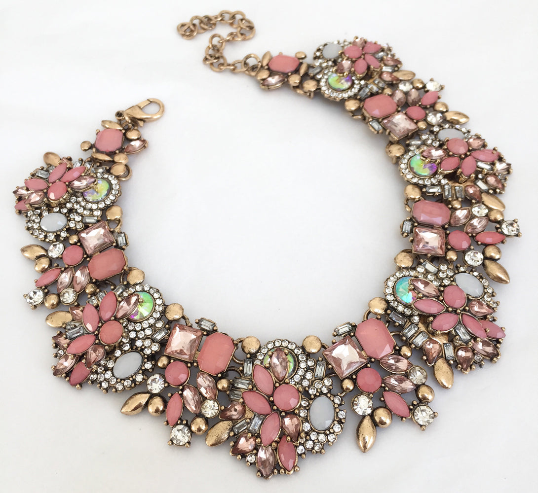 Pink and gold rhinestone choker necklace for her