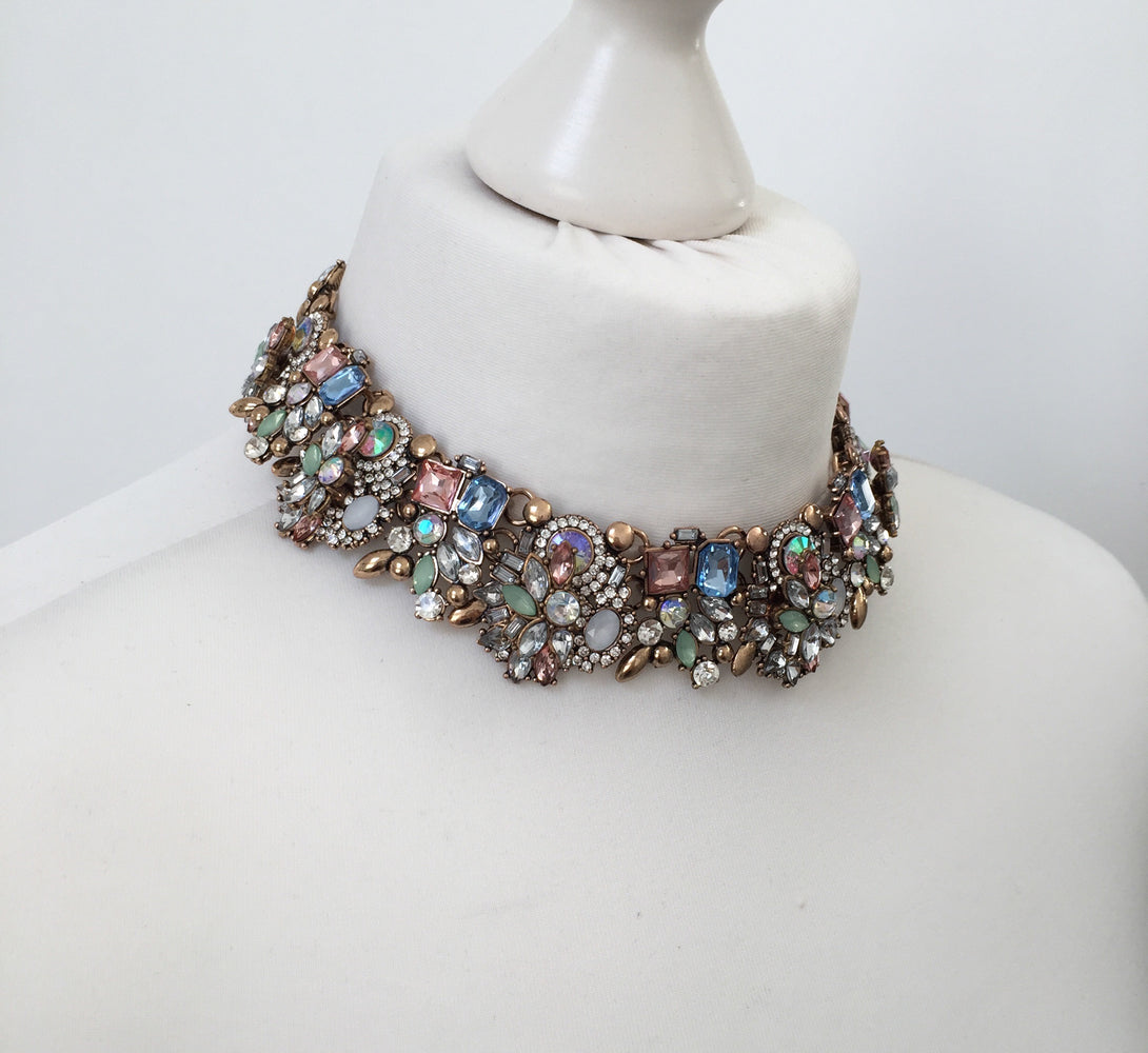 rhinestone choker necklace with mint green and gold jewels. Perfect as a gift for her or for a special occasion.