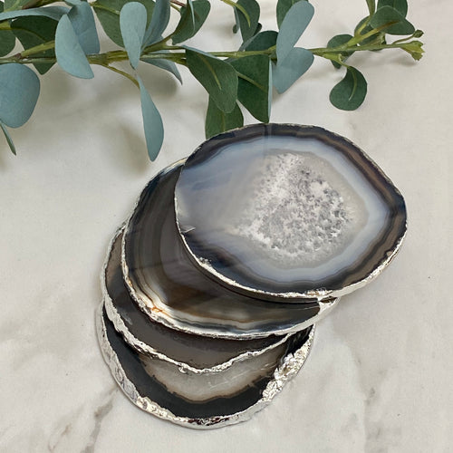 Black Agate Crystal Coasters with Silver Plated Edge