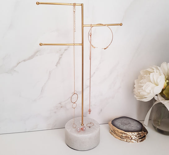 Marble & Gold Brass Jewellery Stand