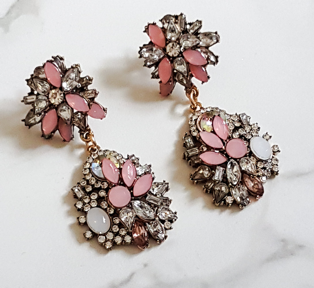 ladies pink fancy earrings