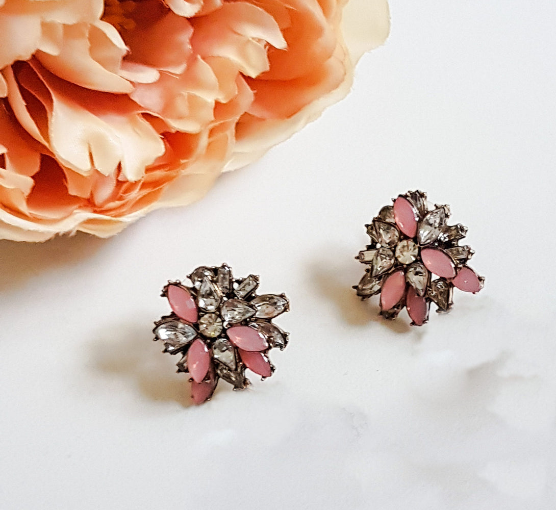 pink rhinestone stud earrings