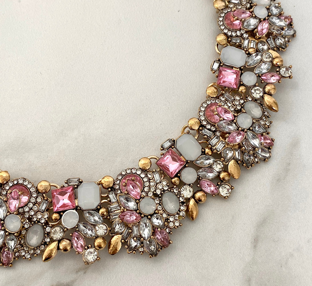 pink rhinestone big necklace