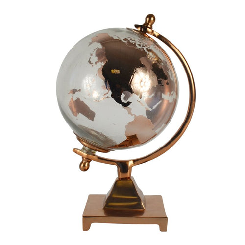 copper globe world map