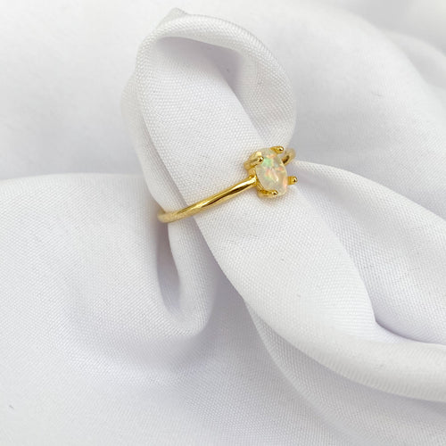 White Opal Gold Plated Ring