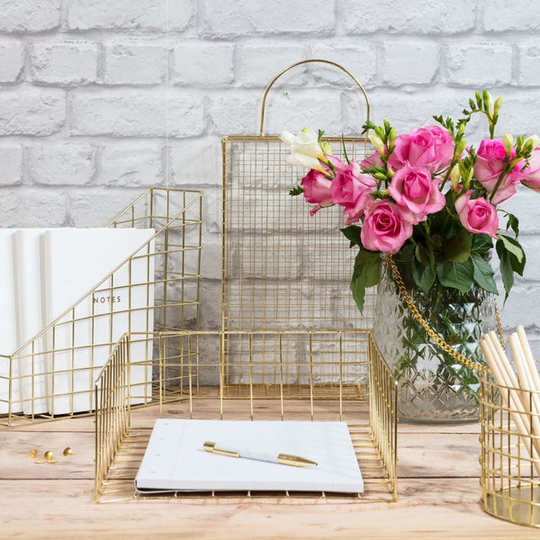 Gold Wire Desk Organiser