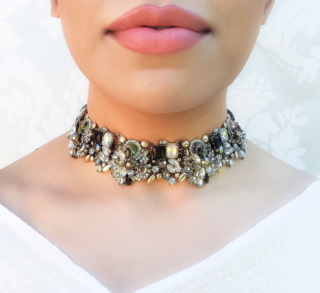 black and gold luxury choker necklace
