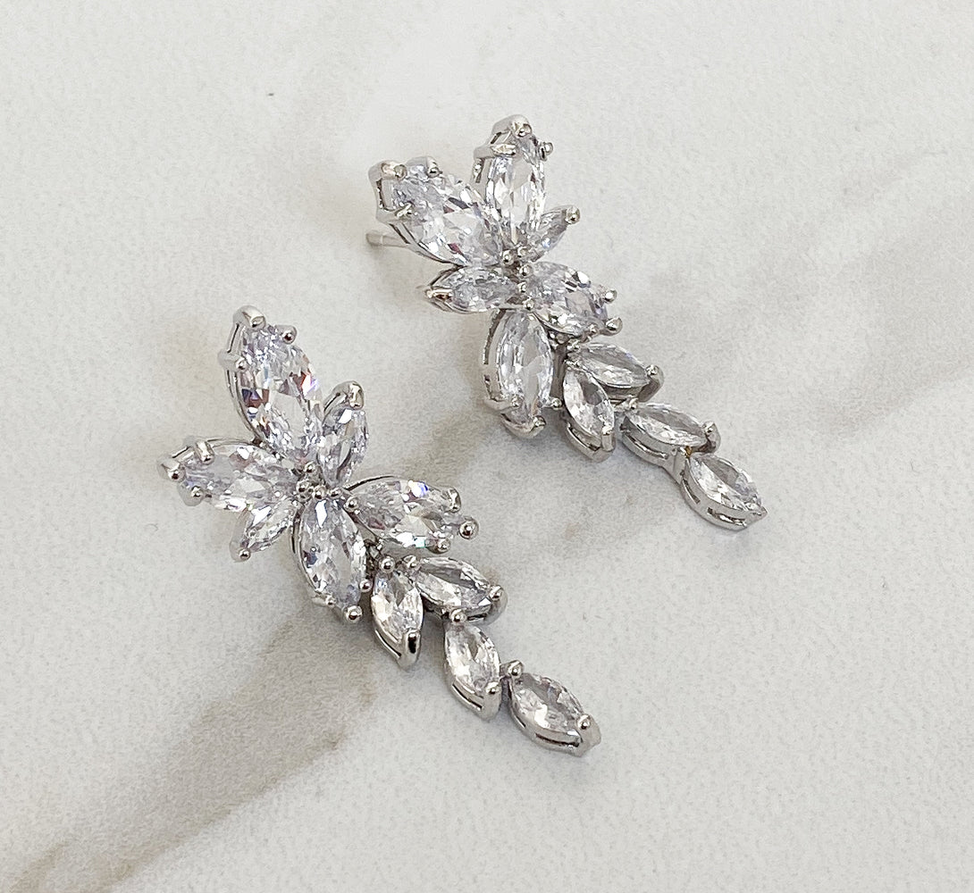 silver bridal earrings in crystal design