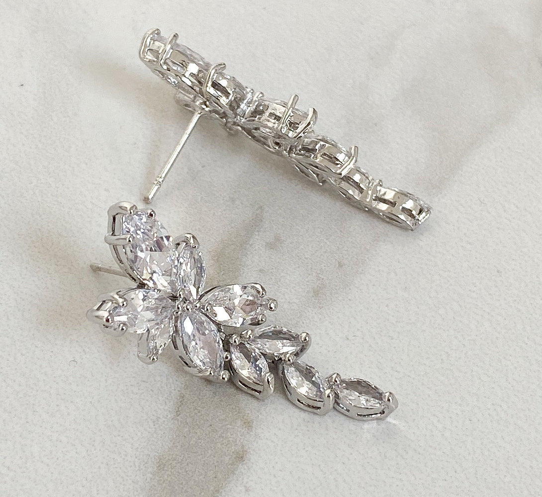 silver plated bridal jewellery with crystal petals