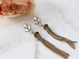 KIKI Gold Rhinestone Fringe Earrings