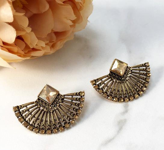 KASA Antique Gold Stud Earrings