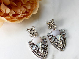 AURA White & Silver Rhinestone Statement Earrings