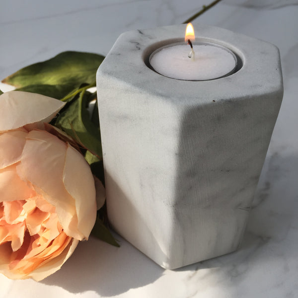 White & Grey Marble Tea Light Holder