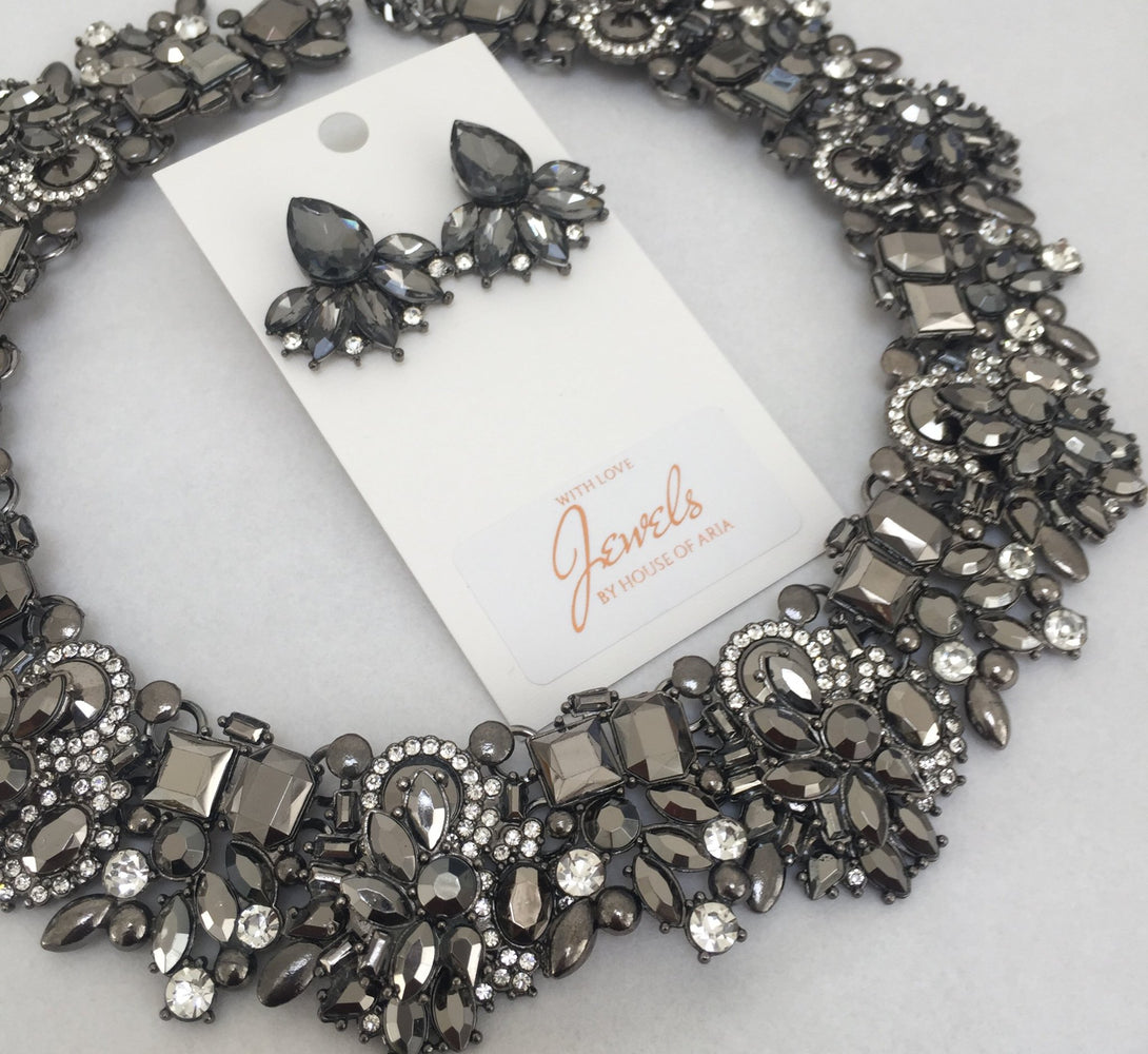 grey necklace and earring set
