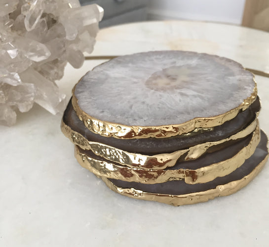 Natural White Agate Crystal Coasters with Gold Glided Edge