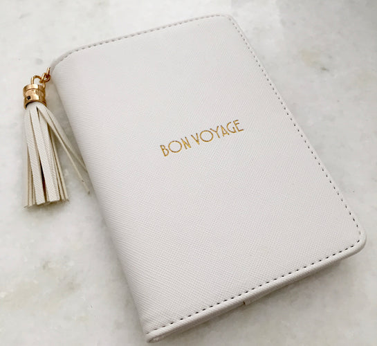 Bon Voyage White Passport Cover