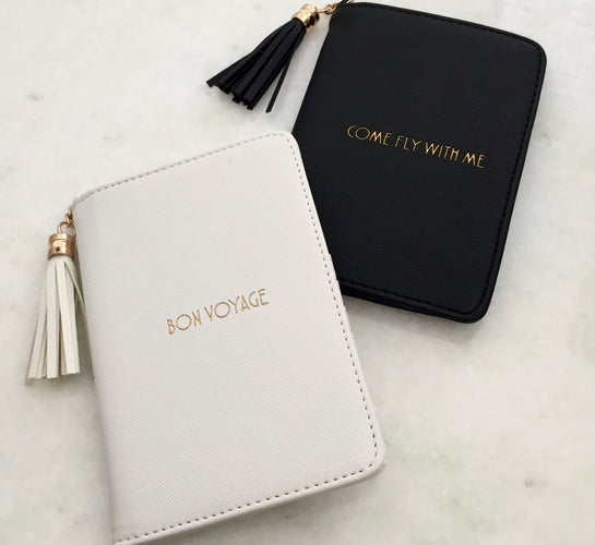 White & Gold Bon Voyage Passport Cover