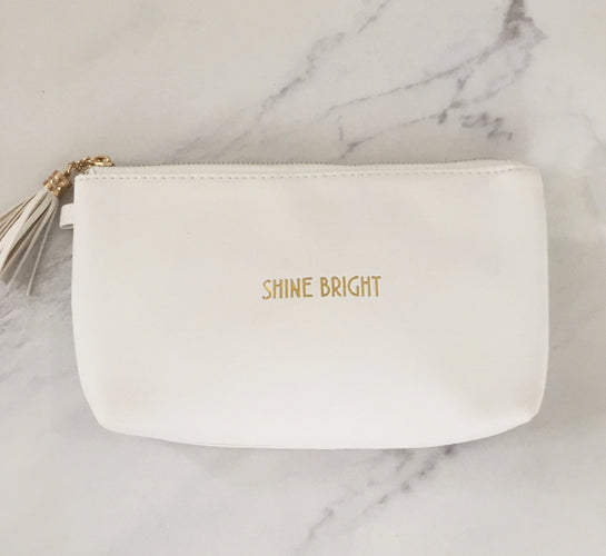 White & Gold Shine Bright Cosmetics Bag