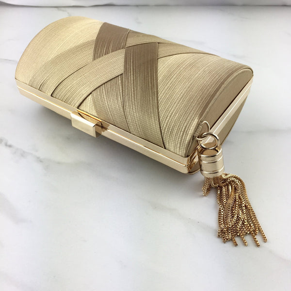 AARYA Gold Tassel Clutch Bag